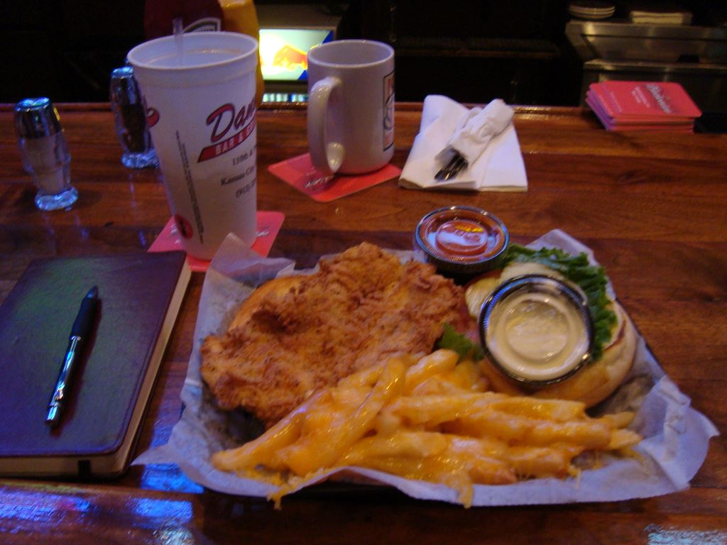 Buffalo Chickin Sammich and Mega Cheese Fries